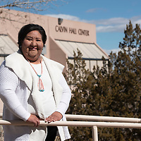 University of New Mexico-Gallup business administration student Teresa Manuelito poses for a portrait on campus Monday in Gallup. Manuelito is a recent recipient of the Basilio DiGregorio Business Endowment Scholarship.