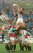 1997 Heineken European Cup, NEC Harlequins V Leicester Tigers, Stoop 18-4-98<br /> Quins Gareth Llewellyn, collects the line out ball, [Mandatory Credit: Peter Spurrier/Intersport Images].