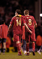 Photo: Jed Wee.<br /> Liverpool v Benfica. UEFA Champions League. 08/03/2006.<br /> <br /> Liverpool's Xabi Alonso and Steven Gerrard leave the pitch at the end of the game.