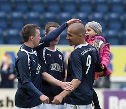 Falkirk's Mark Millar, Thomas Scobie and Falkirk's Farid El Alagui at the end..Falkirk 3 v 2 Ayr United, 5/5/2012..©Michael Schofield..