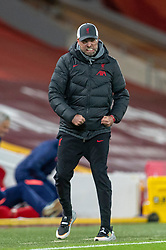LIVERPOOL, ENGLAND - Wednesday, December 16, 2020: Liverpool's manager Jürgen Klopp celebrates after the first goal during the FA Premier League match between Liverpool FC and Tottenham Hotspur FC at Anfield. Liverpool won 2-1. (Pic by David Rawcliffe/Propaganda)