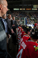 KELOWNA, CANADA - JANUARY 21: Portland Winterhawks' assistant coach, Kyle Gustafson and head coach Mike Johnston speak to players on the bench against the Kelowna Rockets on January 21, 2017 at Prospera Place in Kelowna, British Columbia, Canada.  (Photo by Marissa Baecker/Shoot the Breeze)  *** Local Caption ***