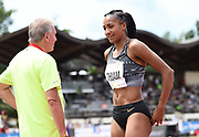 Nafi Thiam aka Nafissatou Thiam (BEL), right, celebrates with coach Roger Lespagnard after clearing a heptathlon world record 6-7 1/2 (2.02m) in the high jump during the DecaStar meeting, Friday, June 22, 2019, in Talence, France. Thiam won with 6,819 points. (Jiro Mochizuki/Image of Sport via AP)