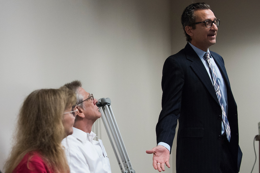 M. Chris Fabricant of the Innocence Project gives an update on his client, Steve Chaney, during the Texas Forensic Science Commission panel on bite mark comparison at the Tim Curry Criminal Justice Center in Fort Worth, Texas.  (Photo by Cooper Neill for Texas Monthly)