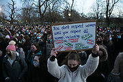 Hundreds of people gathered at a peaceful vigil for Sarah Everard on Clapham Common in South London on the 13th of March 2021, London, United Kingdom. Sarah Everard went missing on 3 March after setting off at 9pm from a friend's house to make her two and a half mile journey home. The vigil was also a call to end violence against girls and women perpetrated by men. The vigil was not sanctioned by police because of Covid restrictions and the police decided to arrest a number of people in an attempt to end the peaceful and highly emotional vigil. The event took place at the band stand on the common and speeches were held from the stand till police confiscated the sound equipment.