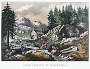 Gold Mining in California. Scenes of the 1849 Californian Gold Rush showing cradling, panning, washing with a 'long tom' and hydraulic mining. Coloured lithograph by Currier and Ives 1871.