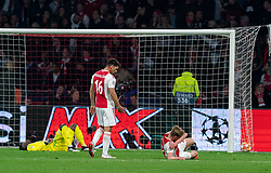 08-05-2019 NED: Semi Final Champions League AFC Ajax - Tottenham Hotspur, Amsterdam<br /> After a dramatic ending, Ajax has not been able to reach the final of the Champions League. In the final second Tottenham Hotspur scored 3-2 / Lisandro Magallan #16 of Ajax, Andre Onana #24 of Ajax, Frenkie de Jong #21 of Ajax