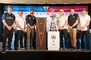 Helmsmen, (L to R) Peter Burling, Emirates Team New Zealand, Franck Cammas, Groupama Team France, Sir Ben Ainslie, Land Rover BAR (UK), Jimmy Spithill, Oracle Team USA, Dean Barker, Softbank Team Japan and Nathan Outteridge, Artemis Racing. 35th America's Cup opening press conference. 25/5/2017