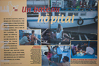 French writer Dominique Lapierre and his wife, also Dominique, have set up a charity in India to help villagers in the Sundarbans. They've turned old ferries into floating clinics. Story for VIVA magazine (France)<br /> Sujet sur les bateaux-hopitaux de Dominique Lapierre dans les Sundarbans dans le delta du Gange (Bengal de l'ouest) en Inde.