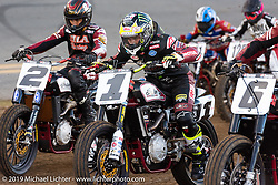 Jared Mees (number 1 plate) and Kenny Coolbeth, Jr. (number 2 plate) on their FTR750 Indian Scouts at the American Flat Track TT at Daytona International Speedway during Daytona Bike Week. Daytona Beach, FL. USA. Thursday March 15, 2018. Photography ©2018 Michael Lichter.