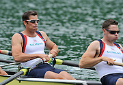Bled, SLOVENIA,  Men's eights, [left] Greg SEARLE,  competing in the M8+. on the opening day, FISA World Cup, Bled venue, Lake Bled.  Friday  28/05/2010  [Mandatory Credit Peter Spurrier/ Intersport Images]