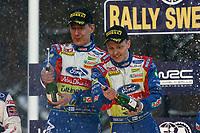 MOTORSPORT - WRC 2010 - RALLY SWEDEN - KARLSTAD (SWE) - 11 to 14/02/2010 - PHOTO : ALEXANDRE GUILLAUMOT / DPPI<br /> MIKKO HIRVONEN (FIN) - BP FORD ABU DHABI - FORD FOCUS WRC - AMBIANCE PORTRAIT<br /> PODIUM