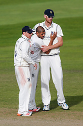 Jeetan Patel of Warwickshire celebrates after he bowls out Tom Cooper of Somerset for 26 - Mandatory byline: Rogan Thomson/JMP - 07966 386802 - 24/09/2015 - CRICKET - The County Ground - Taunton, England - Somerset v Warwickshire - Day 3 - LV= County Championship Division One.