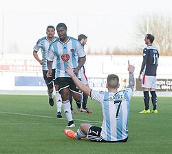 Hearts Genero Zeefuik cele scoring second goal.<br /> Falkirk 0 v 3 Hearts, Scottish Championship game played 21/3/2015 at The Falkirk Stadium.