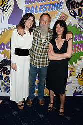 Left to right, BELLA FREUD, SEASICK STEVE and KARMA NABULSI at the Hoping Foundation's 'Rock On' Benefit Evening for Palestinian refuge children held at the Cafe de Paris, London on 20th June 2013.