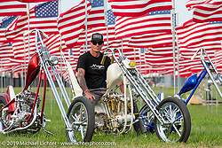 Hawke Lawshe with his beautiful custom Harley-Davidsons in the Field of Flags area of the Buffalo Chip during the Sturgis Black Hills Motorcycle Rally. SD, USA. Thursday, August 8, 2019. Photography ©2019 Michael Lichter.