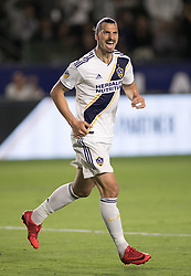 May 30, 2018 - Carson, California, U.S - Zlatan Ibrahimovic #9 of the LA Galaxy celebrates his goal during their MLS game against FC Dallas on Wednesday, May 30, 2018 at the Stub Hub Center in Carson, California. LA Galaxy Lose to FC Dallas, 2-3 (Credit Image: © Prensa Internacional via ZUMA Wire)