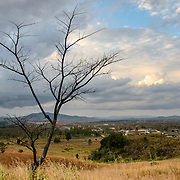 The landscape of Plain of Jars Site 1 on the Xieng Khouang plateau, Laos.