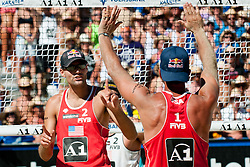 Phil Dalhausser and Todd Rogers of USA at A1 Beach Volleyball Grand Slam tournament of Swatch FIVB World Tour 2010, bronze medal, on July 31, 2010 in Klagenfurt, Austria. (Photo by Matic Klansek Velej / Sportida)