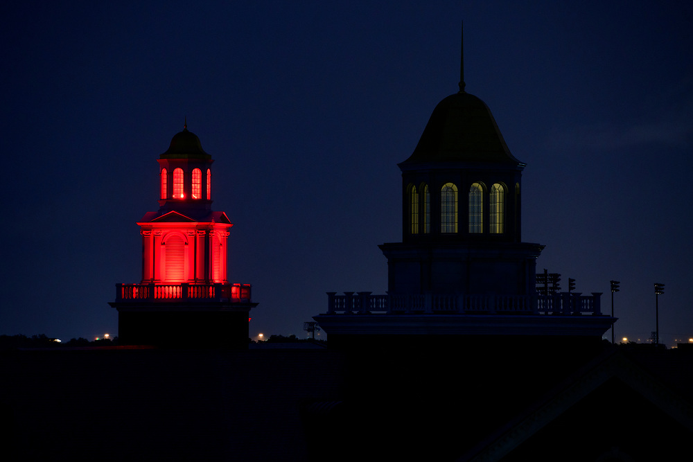 SMU and Dallas light up their buildings in red to honor the graduation class of 2020, Saturday, May 16, 2020 on the SMU Campus.