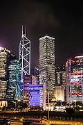 Symphony of Lights on financial center buildings, Hong Kong