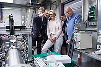 31 MAY 2018, HAMBURG/GERMANY:<br /> Christian Schroer, wissenschaftlicher Leiter der Synchrotronstrahlungsquelle PETRA III, Helmut Dosch, Vorsitzender des DESY-Direktoriums, Anja Karliczek, CDU, Bundesministerin fuer Bildung und Forschung, und Prof. Dr. Dr. h.c. Dieter Lenzen, Praesident der Universitaet Hamburg, (v.L.n.R.), besichtigen eine Einrichtung der Synchrotronstrahlungsquelle PETRA III/IV, Besuch des Deutschen Elektronen-Synchrotons, DESY<br /> IMAGE: 20180531-01-140