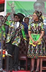 President Robert Mugabe and his wife Grace attended a ZANU PF rally in Chinhoyi west of the capital Harare,Zimbabwe,July 29,2017.(Xinhua/Stringer) (Photo by Xinhua/Sipa USA)