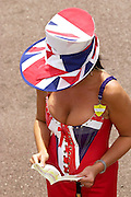 ASCOT FASHION - UNION JACK FLAG OUTFIT AND HAT AT ASCOT RACES ON THE FIRST DAY.