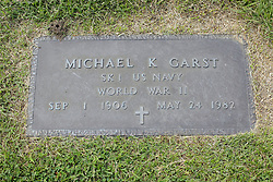 31 August 2017:   Veterans graves in Park Hill Cemetery in eastern McLean County.<br /> <br /> Michael K Garst SK1 US Navy World War II Sep 1 1906 May 24 1982