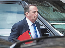 © Licensed to London News Pictures. 03/04/2019. London, UK. Trade Secretary Liam Fox arrives at Parliament before Prime Minister's Questions. Prime Minister Theresa May has called for talks with Labour Party Leader Jeremy Corbyn to seek a way forward with the Brexit deadlock. Photo credit: Peter Macdiarmid/LNP