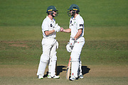 Central Stags Christian Leopard and Dane Cleaver in the Plunket Shield Cricket match, Central Districts v Canterbury, McLean Park, Napier, Tuesday, April 06, 2021. Copyright photo: Kerry Marshall / www.photosport.nz