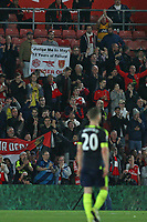 Football - 2016 / 2017 Premier League - Southampton vs. Arsenal<br /> <br /> One Wenger Out Banner on display after the final whistle at St Mary's Stadium Southampton <br /> <br /> COLORSPORT/SHAUN BOGGUST