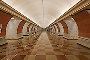Victory Park Metro Station opened in 2003. Moscow, Russia, 2007