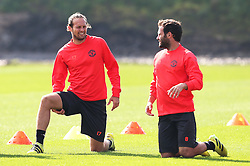 Daley Blind and Juan Mata of Manchester United - Mandatory by-line: Matt McNulty/JMP - 14/09/2016 - FOOTBALL - Manchester United - Training session ahead of Europa League Group A match against Feyenoord