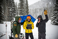 Assisted by Teton Pass Ambassador Jay Pistono and Mike Estes of Teton County Search and Rescue on April 1, Dr. Will Smith flies a drone from the Coal Creek trailhead to the site of an avalanche on Taylor Mountain searching for signs of Trace Carillo, who was caught in the slide earlier that day.