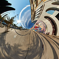 Mirror Ball Building Mural. Tunnel View (270 degrees). Composite of 38 images taken with a Nikon D850 camera and 8-15 mm fisheye lens (ISO 64, 15 mm, f/16, 1/100 sec). Raw images processed with Capture One Pro and Auto Pano Giga.