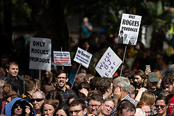 "© Licensed to London News Pictures. 31/08/2019. Manchester, UK. Placards reading "" Only rogues prorogue "" and "" Worst BJ ever "" . Thousands attend a pro EU demo in Albert Square in Manchester City Centre , with objections raised to the Prime Minister Boris Johnson's intention to prorogue Parliament in the run up to Britain's planned Brexit deadline . Photo credit: Joel Goodman/LNP"