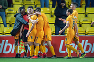 Shaun Byrne (#6) of Livingston FC is congratulated by his team mates after scoring during the Ladbrokes Scottish Premiership match between Livingston FC and Heart of Midlothian FC at the Tony Macaroni Arena, Livingston, Scotland on 14 December 2018.