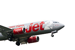 The Jet2 plane with the name Jet2 Paris on approach to Edinburgh airport..©Pic : Michael Schofield.