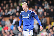 Cardiff City striker, Lex Immers (27) licking lips during the Sky Bet Championship match between Fulham and Cardiff City at Craven Cottage, London, England on 9 April 2016. Photo by Matthew Redman.