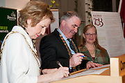 Galway launches 200 Gatherings ! Come home to Irelands Cultural Heart  with help of  Mayor of Galway Terry O Flaherty receives her  Galway County Mayor Tom Welby and Professor Deborah Wickering Michigan  Aquinas College Anniversary reunion at Aras An Contae. Picture Andrew Downes.