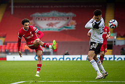 LIVERPOOL, ENGLAND - Sunday, March 7, 2021: Liverpool's Trent Alexander-Arnold crosses the ball during the FA Premier League match between Liverpool FC and Fulham FC at Anfield. Fulham won 1-0 extending Liverpool's run to six consecutive home defeats. (Pic by David Rawcliffe/Propaganda)