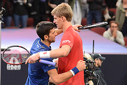 September 22, 2018 - Chicago, Illinois, United States - NOVAK DJOKOVIC and KEVIN ANDERSON at the net after their match in the Laver Cup tennis event in Chicago. (Credit Image: © Christopher Levy/ZUMA Wire)