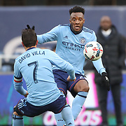 NEW YORK, NEW YORK - March 18:  Rodney Wallace #23 of New York City FC and David Villa #7 of New York City FC in action during the New York City FC Vs Montreal Impact regular season MLS game at Yankee Stadium on March 18, 2017 in New York City. (Photo by Tim Clayton/Corbis via Getty Images)