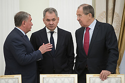 May 30, 2017 - Moscow, RUSSIA - CEO of state-controlled Russian oil company Rosneft Igor Sechin, left, talks with Russian Defense Minister Sergei Shoigu, center, and Foreign Minister Sergey Lavrov talk prior a meeting with Saudi Deputy Crown Prince and Defense Minister Mohammed bin Salman in Moscow's Kremlin, Russia, Tuesday, May 30, 2017. (Credit Image: © Prensa Internacional via ZUMA Wire)