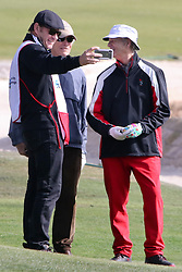 """Feb 6, 2019 Pebble Beach, Ca. USA TV, Film and singing stars that included Winners, CLINT EASTWOOD who's caddy was former golf pro, SIR NICK FALDO selfi with Bill Murray, whom played in the """"3M Celebrity Challenge"""" to try for part of the 100K purse to go to their favorite charity and win the Estwood-Murray cup, for which team Clint Eastwwod's group won.. The event took place during practice day of the PGA AT&T National Pro-Am golf on the Pebble Beach Golf Links. Photo by Dane Andrew c. 2019 contact: 408 744-9017  TenPressMedia@gmail.com"""