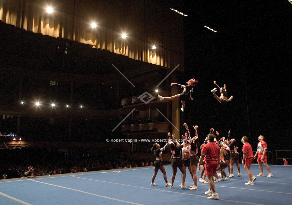 The T-H Spirit Cheer Explosion competes in the NCA/NDA U.S. Championship held at the Hammerstein Ballroom Sat. March 10, 2007. Rising popularity in the sport of cheerleading has brought a significant increase in cheerleading related accidents and injuries.