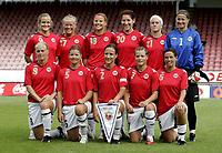 Fotball Kvinner Women<br /> Landskamp International<br /> 21.06.07<br /> Åråsen Stadion<br /> Norge - Østerrike<br /> Norway - Austria<br /> Lagbilde team picture Norway<br /> (Back row L-R) Lindy Melissa Wiik - Lene Mykjåland - Marie Knutsen - Lise Klaveness - Lene Storløkken - Bente Nordby<br /> (Front row L-R) Solveig Gulbrandsen - Siri Nordby - Ane Stangeland Horpestad - Trine Rønning - Camilla Huse<br /> Foto - Kasper Wikestad