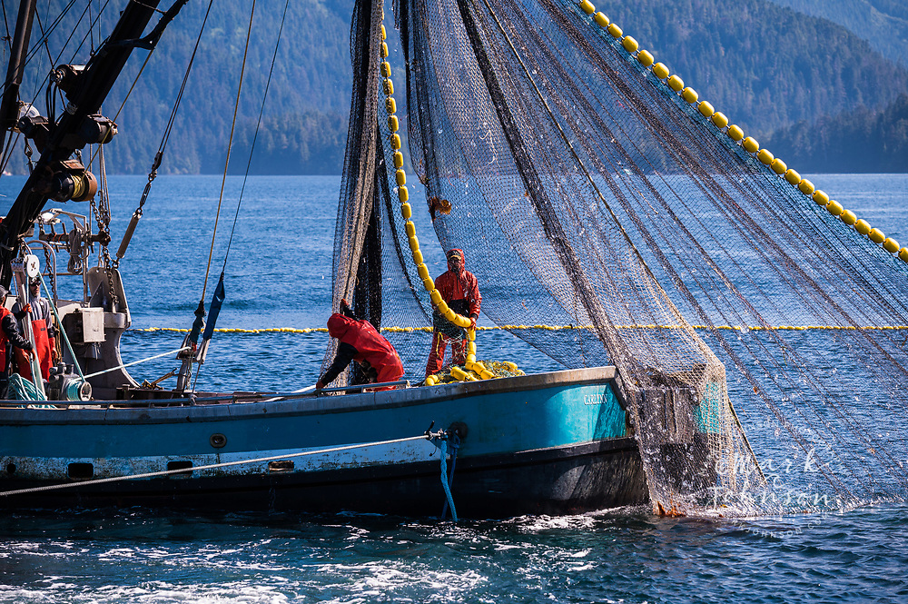 Purse Seine salmon fishing boats off the coast of Sitka, Alaska, USA