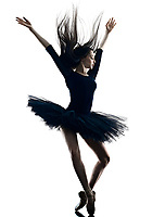 one young beautiful long hair caucasian woman ballerina ballet dancer dancing studio shot silhouette  isolated on white background